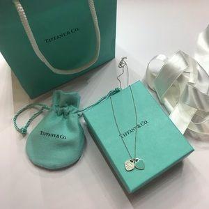 Tiffany & co. Double heart pendant enamel necklace